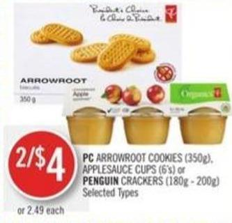 PC Arrowroot Cookies (350g) - Applesauce Cups (6's) or Penguin Crackers (180g - 200g)