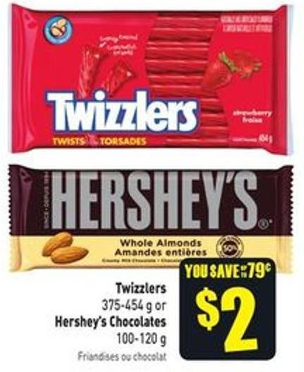 Twizzlers 375-454 g or Hershey's Chocolates 100-120 g