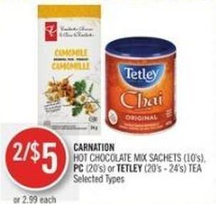 Carnation  Hot Chocolate Mix Sachets (10's) - PC (20's) or Tetley (20's - 24's) Tea