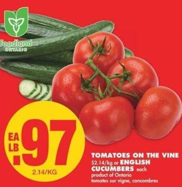 Tomatoes On The Vine Or English Cucumbers