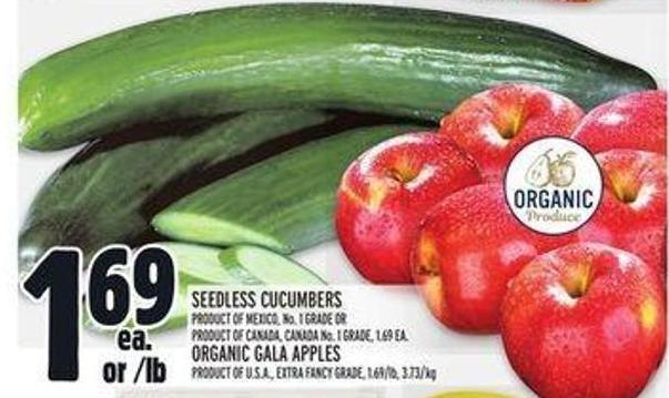 Seedless Cucumbers - Organic Gala Apples