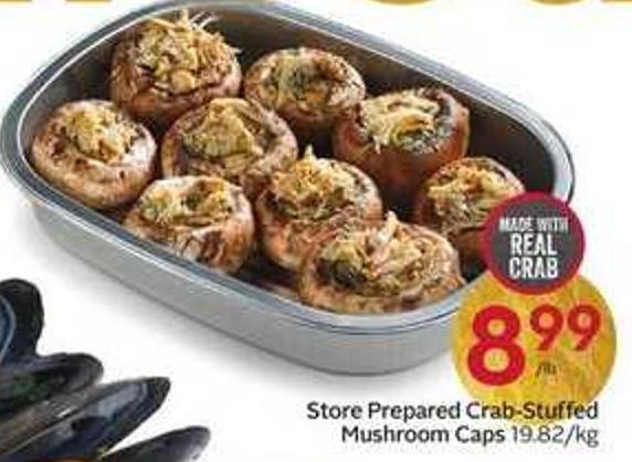 Store Prepared Crab-stuffed Mushroom Caps