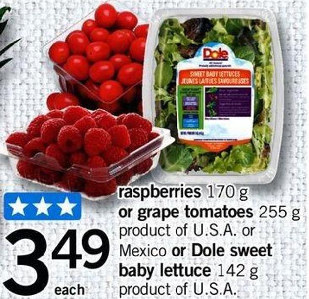 Raspberries 170 G Or Grape Tomatoes 255 G - Mexico Or Dole Sweet Baby Lettuce 142 G