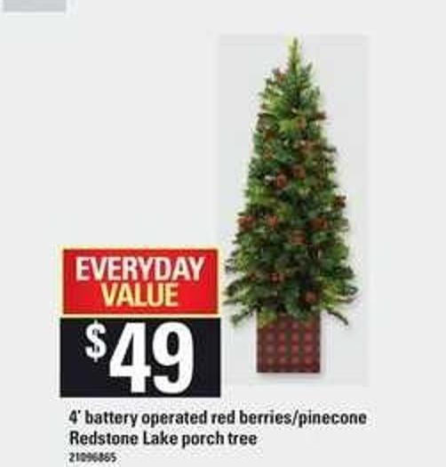 4' Battery Operated Red Berries/pinecone Redstone Lake Porch Tree