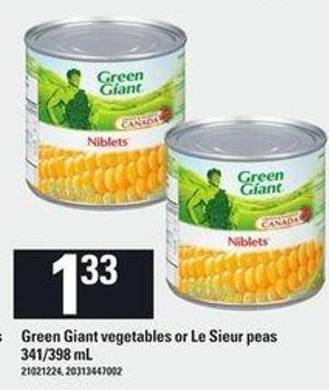 Green Giant Vegetables Or Le Sieur Peas - 341/398 mL