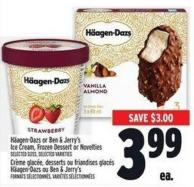 Häagen-dazs Or Ben & Jerry's Ice Cream - Frozen Dessert Or Novelties