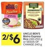 Uncle Ben's Bistro Express Rice 240-250 g or Seeds Of Change 240 g