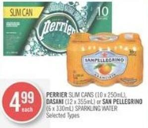 Perrier Slim Cans (10 X 250ml) - Dasani (12 X 355ml) or San Pellegrino (6 X 330ml) Sparkling Water