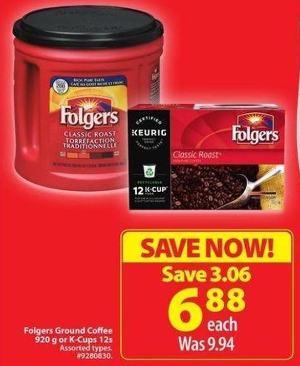 Folgers Ground Coffee 920 g or K-cups 12s