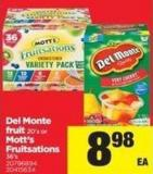 Del Monte Fruit 20's Or Mott's Fruitsations 36's