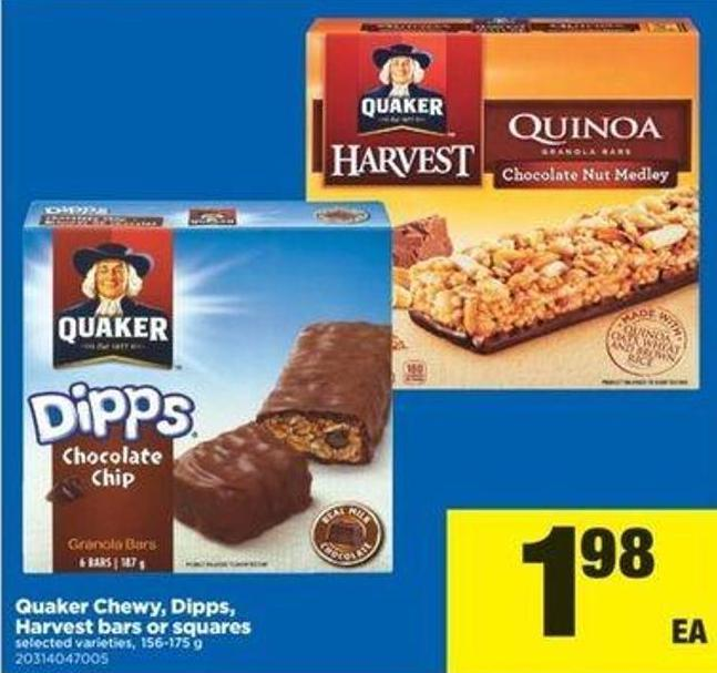 Quaker Chewy - Dipps - Harvest Bars Or Squares - 156-175 G