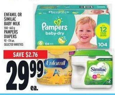 Enfamil or Similac Baby Milk 550 - 663 g Pampers Diapers 92 - 174 Un.