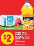 Oasis Juice Boxes - 8 X 200 mL - Allen's - 1.89 L or Sunrype Juice - 1.36 L