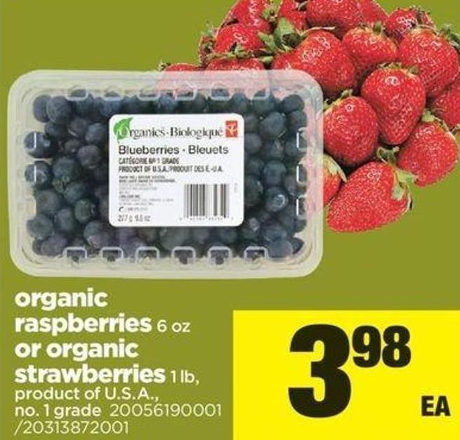 Organic Raspberries - 6 Oz Or Organic Strawberries - 1 Lb