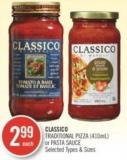 Classico Traditional Pizza (410ml) or Pasta Sauce