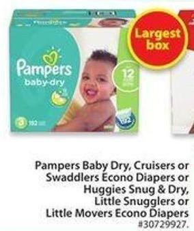 Pampers Baby Dry - Cruisers or Swaddlers Econo Diapers