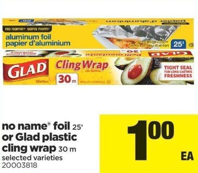No Name Foil - 25' Or Glad Plastic Cling Wrap - 30 M