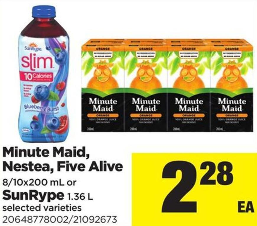 Minute Maid - Nestea - Five Alive - 8/10x200 Ml Or Sunrype - 1.36 L