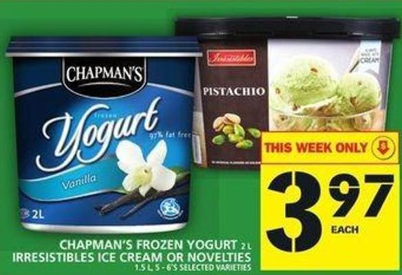 Chapman's Frozen Yogurt Irresistibles Ice Cream Or Novelties