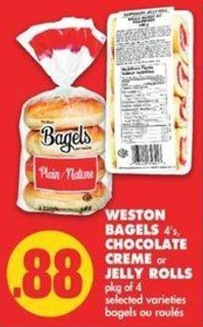 Weston Bagels 4's - Chocolate Creme Or Jelly Rolls Pkg Of 4