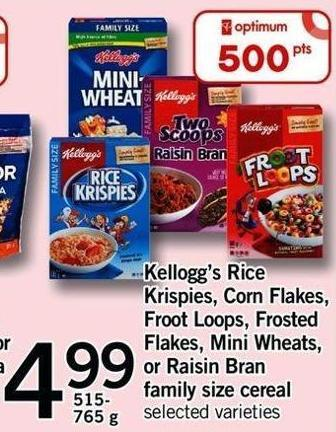 Kellogg's Rice Krispies - Corn Flakes - Froot Loops - Frosted Flakes - Mini Wheats - Or Raisin Bran Family Size Cereal - 515- 765 G