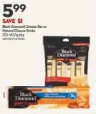 Black Diamond Cheese Bar or  Natural Cheese Sticks  252-400g Pkg