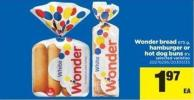 Wonder Bread - 675 g - Hamburger Or Hot Dog Buns - 8's
