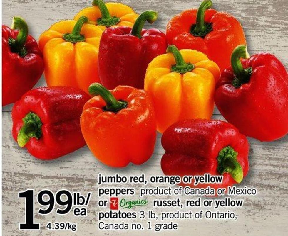 Jumbo Red - Orange Or Yellow Peppers Or Russet - Red Or Yellow Potatoes - 3 Lb