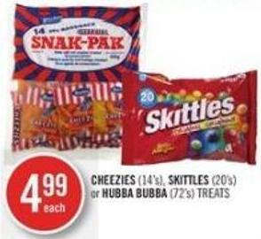 Cheezies (14's) - Skittles (20's) or Hubba Bubba (72's) Treats