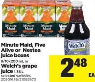 Minute Maid - Five Alive Or Nestea Juice Boxes 8/10x200 Ml Or Welch's Grape Juice 1.36 L