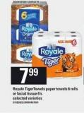 Royale Tigertowels Paper Towels - 6 Rolls Or Facial Tissue - 6's