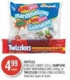 Skittles Fun Size Candy (20's) - Campside Giant Marshmallows (400g) or Twizzlers Extra Long Licorice