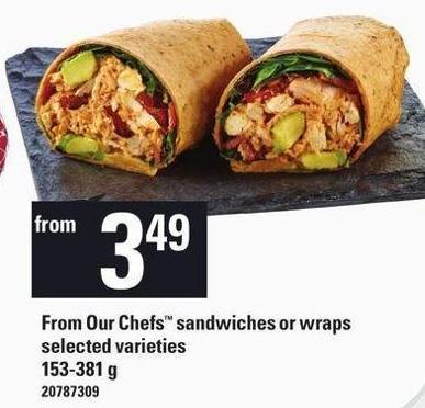 From Our Chefs Sandwiches Or Wraps - 153-381 g