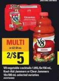 V8 Vegetable Cocktails - 1.89l/6x156 Ml - Kool-aid Jammers Or Clear Jammers - 10x180 Ml