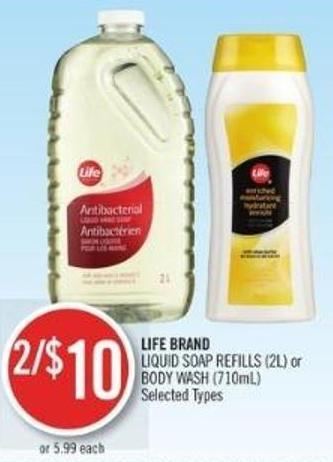 Life Brand Liquid Soap Refills (2l) or Body Wash (710ml)