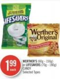 Werther's (60g - 150g) or Lifesavers (70g - 180g) Candy