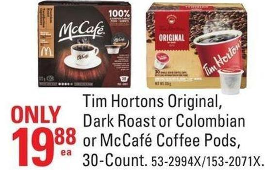 Tim Hortons Original - Dark Roast or Colombian or Mccafé Coffee Pods - 30-count