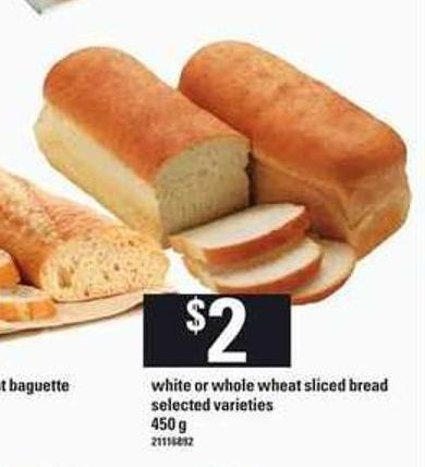 White Or Whole Wheat Sliced Bread - 450 g