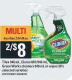 Tilex 946 Ml - Clorox 887/946 Ml - Green Works Cleaners 946 Ml Or Wipes 30's