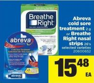 Abreva Cold Sore Treatment 2 G Or Breathe Right Nasal Strips 26's