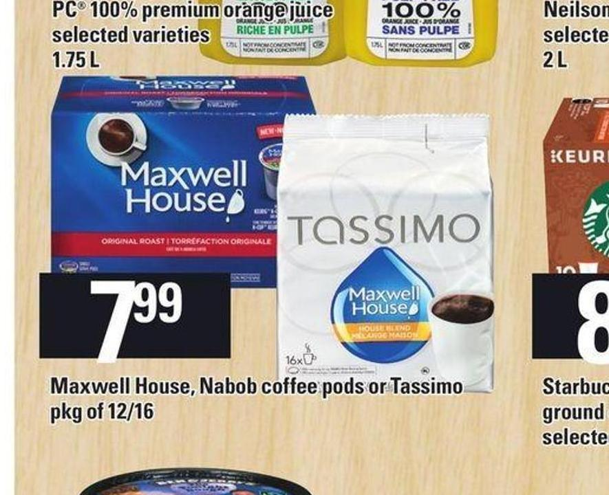 Maxwell House - Nabob Coffee PODS Or Tassimo Pkg Of 12/16