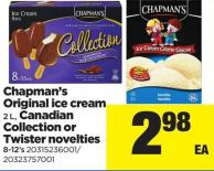 Chapman's Original Ice Cream 2 L - Canadian Collection Or Twister Novelties