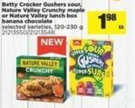 Betty Crocker Gushers Sour - Nature Valley Crunchy Maple Or Nature Valley Lunch Box Banana Chocolate - 120-230 g