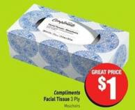 Compliments Facial Tissue 3 Ply