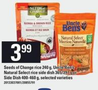 Seeds Of Change Rice - 240 G - Uncle Ben's Natural Select Rice Side Dish - 365/397 G Or Side Dish - 400-460 G