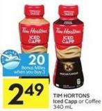 Tim Hortons Iced Capp or Coffee 340 mL - 20 Air Miles Bonus Miles