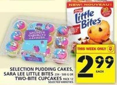 Selection Pudding Cakes - Sara Lee Little Bites Or Two-bite Cupcakes