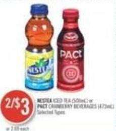 Nestea Iced Tea (500ml) or Pact Cranberry Beverages (473ml)