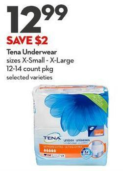 Tena Underwear Sizes X-small - X-large 12-14 Count Pkg