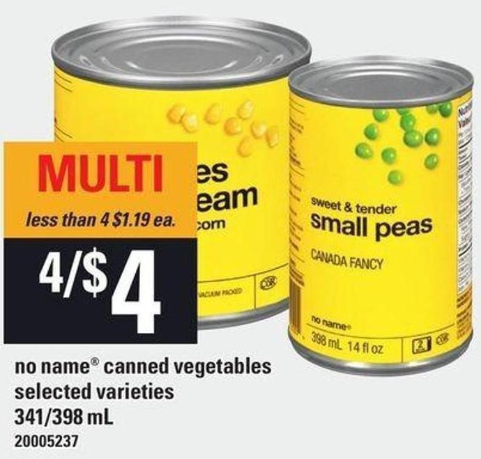 No Name Canned Vegetables - 341/398 mL